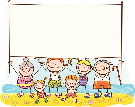 Summer Family with Banner Vector Cartoon Illustration
