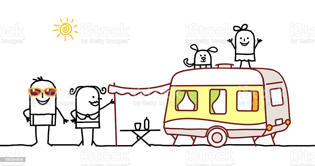 summer family with camping car royalty-free stock vector art