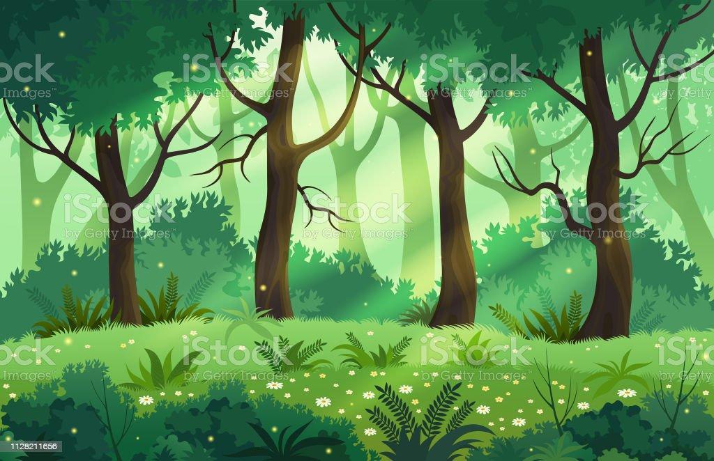 夏ファンタジー森の風景ベクトル イラスト まぶしいのベクターアート