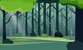 Summer fantasy forest landscape vector illustration