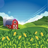Red barn farm summer background. Very detailed background with copy space.