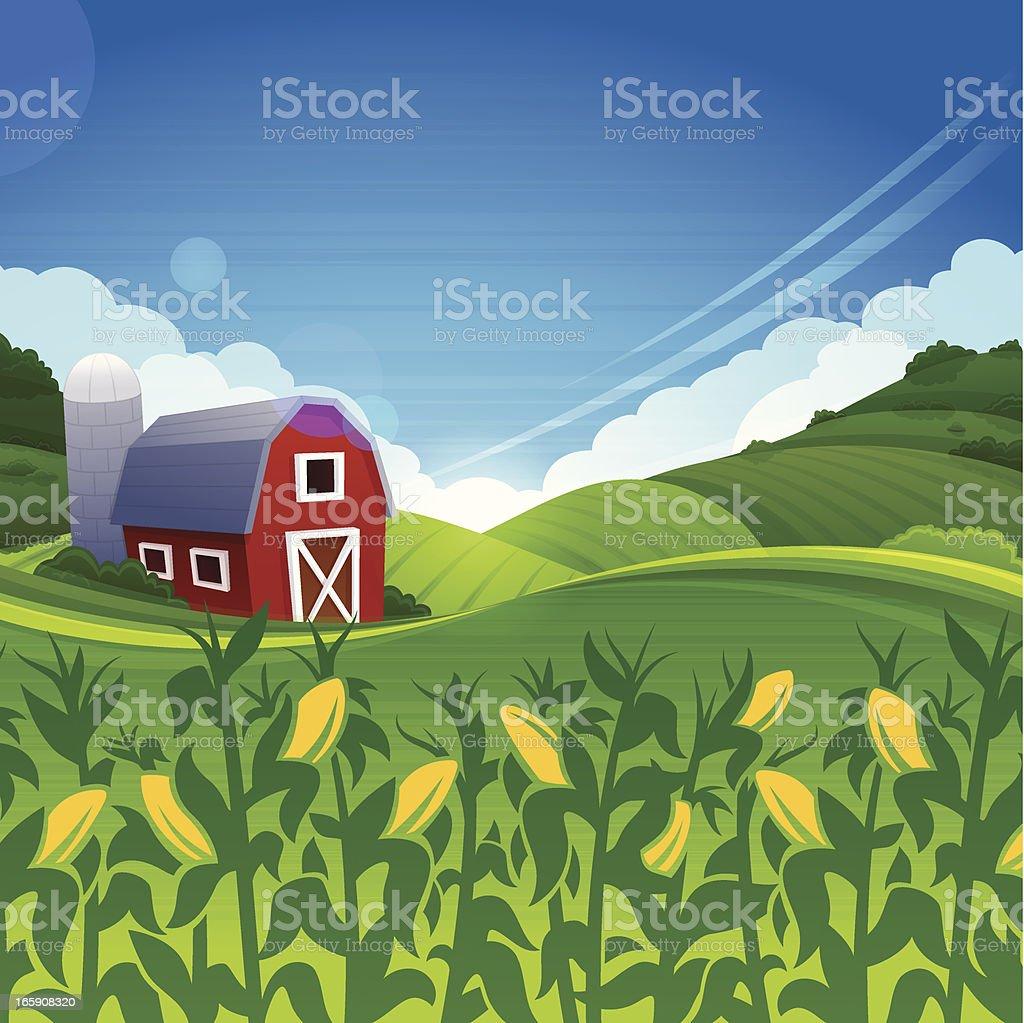 Summer Farm vector art illustration