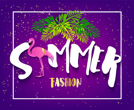 Summer fashion banner with flamingo, text and palm leaves on violet background. Flat design. Vector tropical card.