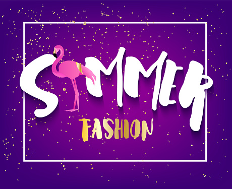 Summer fashion card with flamingo, text and golden spray on violet background. Flat design. Vector banner.