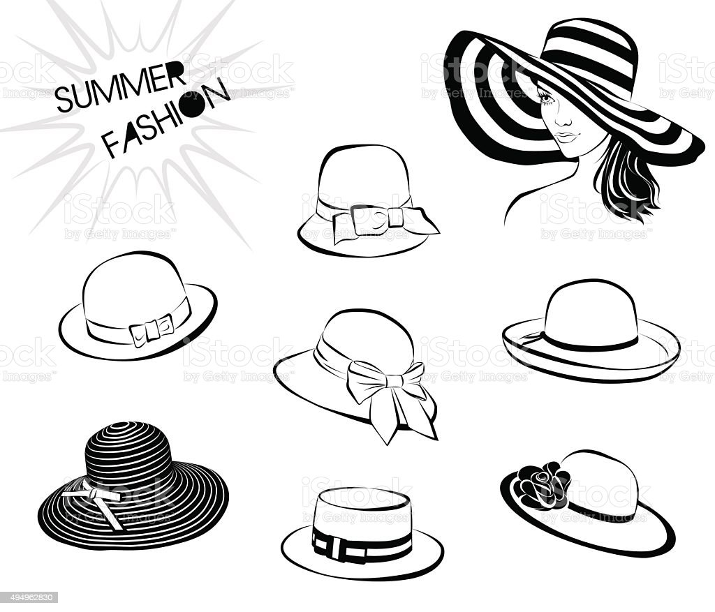 Summer fashion – hats vector art illustration