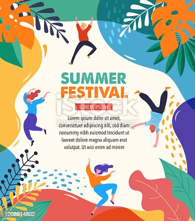 istock Summer fest, concept of live music festival, jazz and rock, food street fair, family fair, event poster and banner with dancing happy people. Vector design and illustration 1208614802