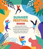 Summer fest, concept of live music festival, jazz and rock, food street fair, family fair, event poster and banner with dancing happy people. Vector design and illustration