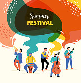 istock Summer fest, concept of live music festival, jazz and rock, food street fair, family fair, event poster and banner colorful vector design 1208684508