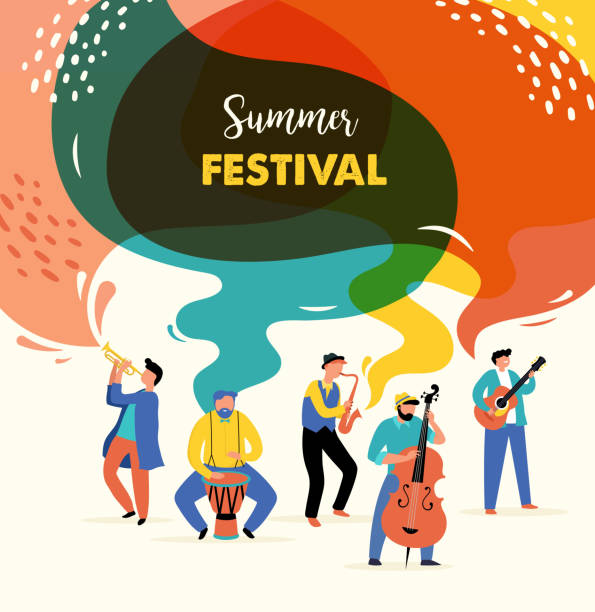 bildbanksillustrationer, clip art samt tecknat material och ikoner med sommarfest, begreppet levande musikfestival, jazz och rock, mat gatumässa, familjemässa, evenemangsaffisch och bannerfärgstark vektordesign - street dance