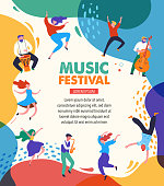 istock Summer fest, concept of live music festival, jazz and rock, food street fair, family fair, event poster and banner. People dance and play music. Vector design and illustration 1208910584