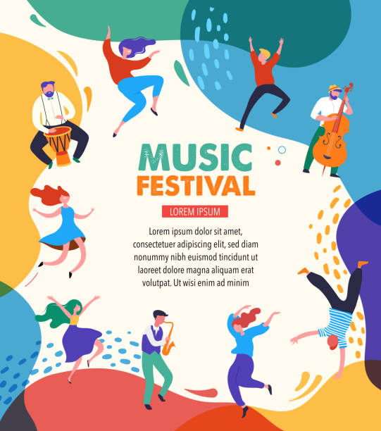 Summer fest, concept of live music festival, jazz and rock, food street fair, family fair, event poster and banner. People dance and play music. Vector design and illustration vector art illustration
