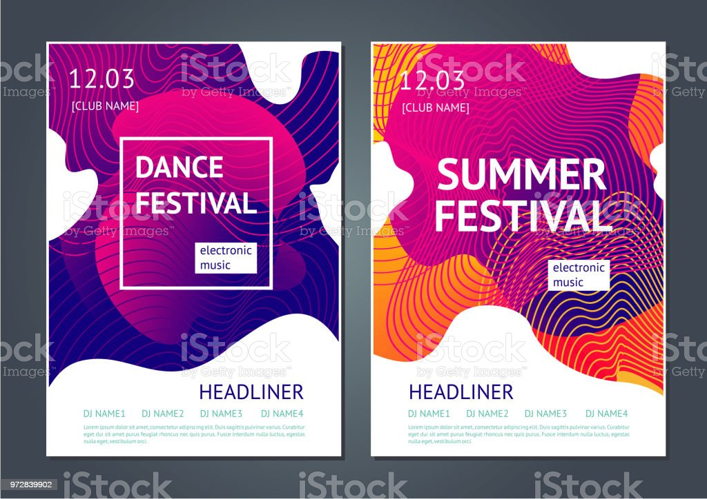 Summer festival abstract poster. Summer dance party. Abstract poster for electronic music festival. Guilloche line and dynamic fluid background. Abstract stock vector