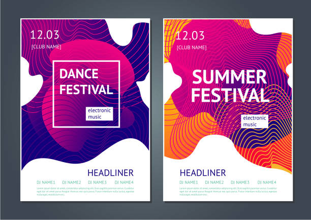 Summer festival abstract poster. Summer dance party. Abstract poster for electronic music festival. Guilloche line and dynamic fluid background. youth culture stock illustrations
