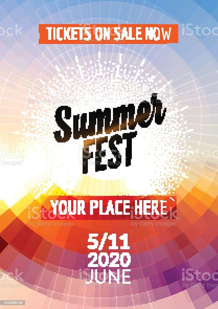 Summer festival flyer design template.  poster   colorful
