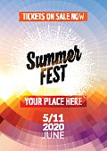 Summer festival flyer design template.  poster   colorful