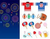 Summer festival in japan_icon set