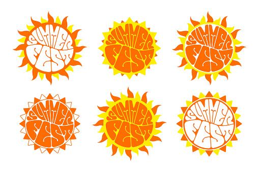 Summer festival logo set.