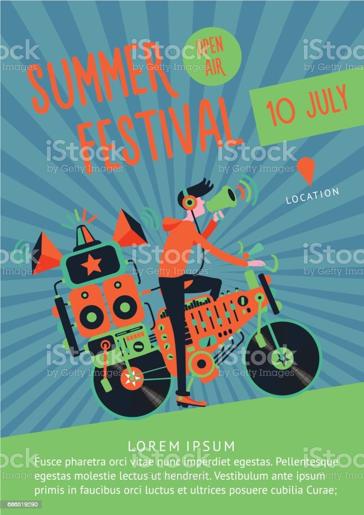 Summer festival music poster template with dj and bike. vector art illustration