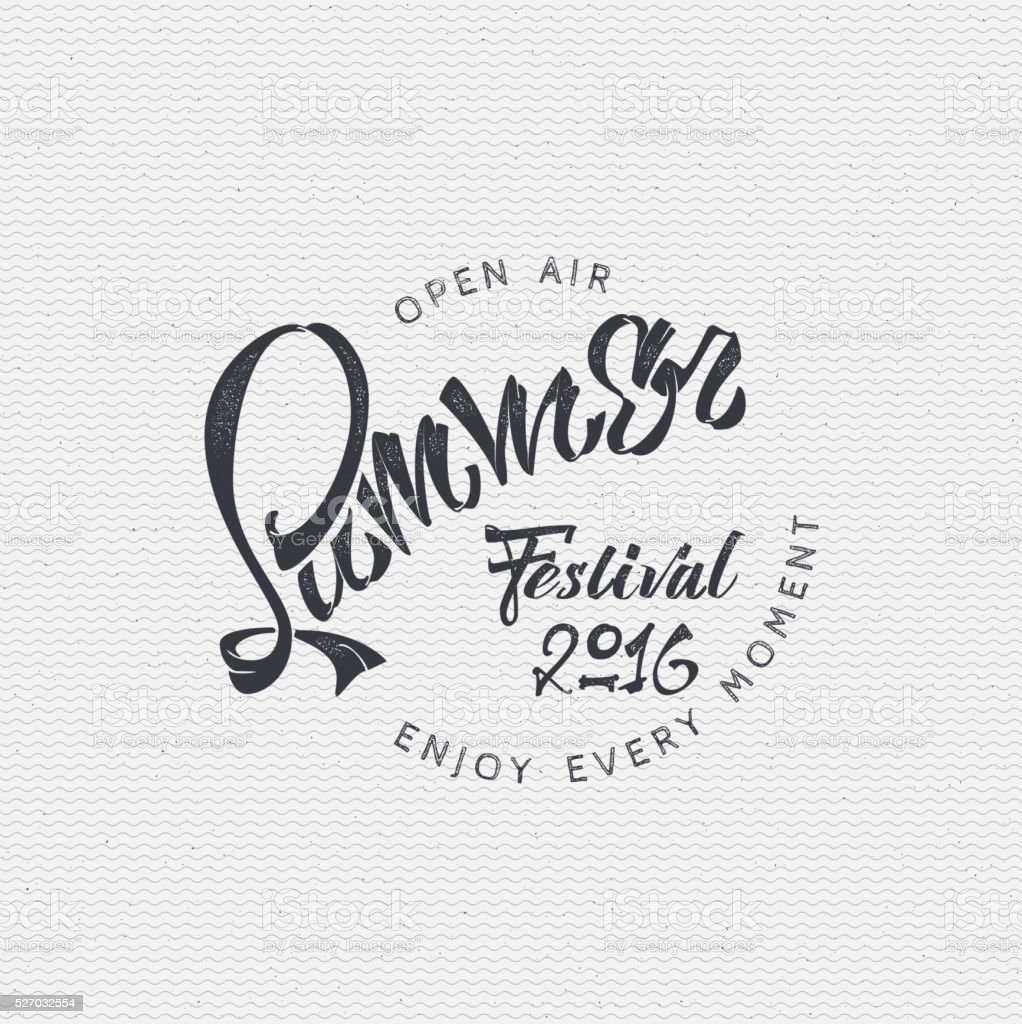 Summer festival - poster, stamp, badge, insignia, postcard, sticker, can vector art illustration