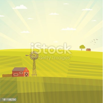 Field landscape with barn