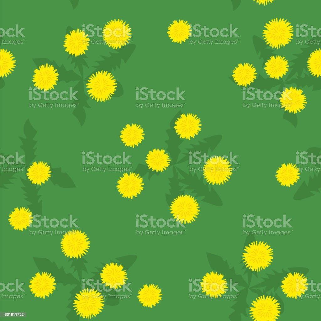 Summer field of yellow dandelions seamless pattern vector art illustration