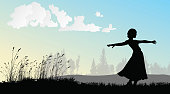 SIlhouette illustration of a young woman standing outdoor with her long skirt blowing in the wind