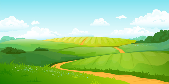 Summer fields landscape. Cartoon countryside valley with green hills blue sky and curly clouds. Vector rural nature view