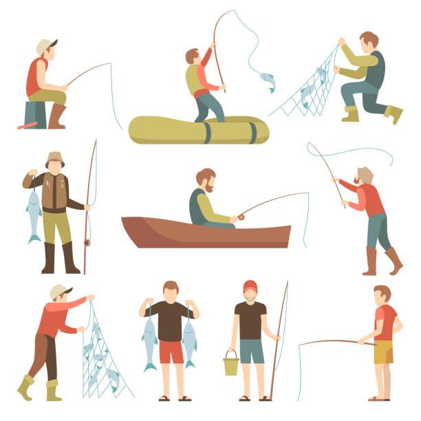 letnie wędkarstwo sport wakacje wektor płaskie ikony. rybacy z zestawem ryb - rybactwo stock illustrations