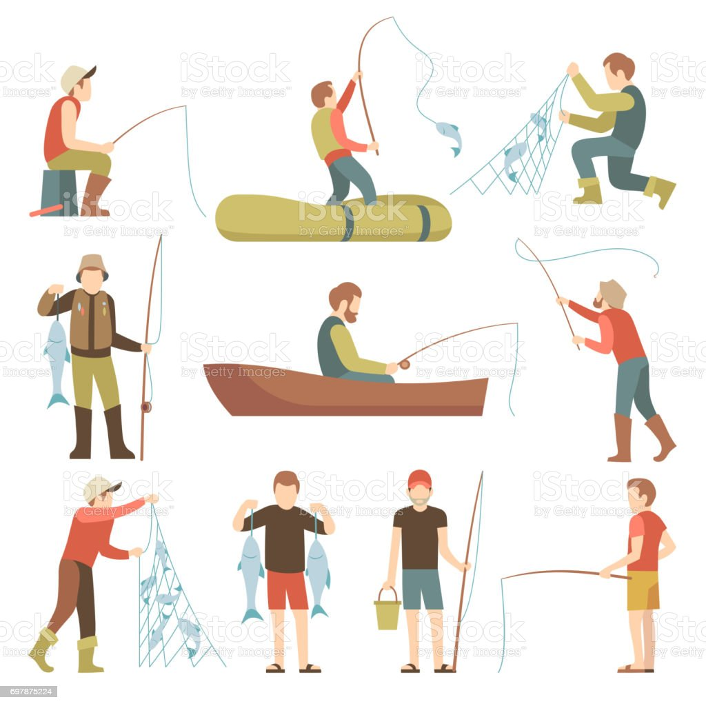 Summer fishing sport vacation vector flat icons. Fishermen with fish set vector art illustration