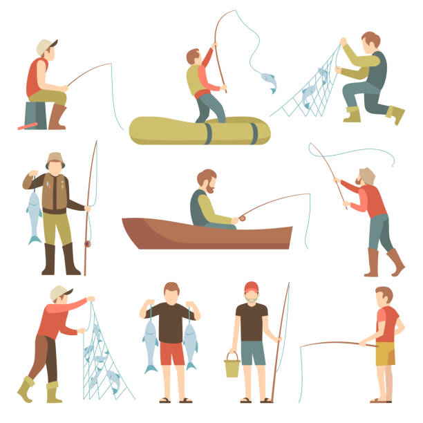 summer fishing sport vacation vector flat icons. fishermen with fish set - fishing stock illustrations