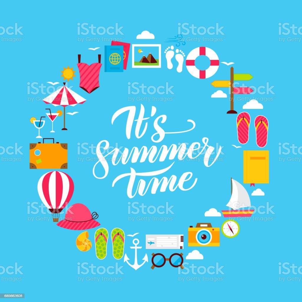 Summer Flat Circle 免版稅 summer flat circle 向量插圖及更多 人字拖鞋 圖片