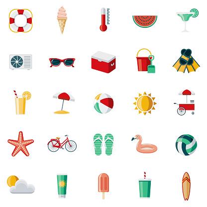Summer Flat Design Icon Set