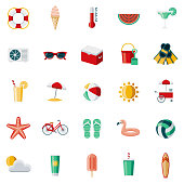 A set of 25 summer flat design icons on a transparent background. File is built in the CMYK color space for optimal printing. Color swatches are Global for quick and easy color changes.