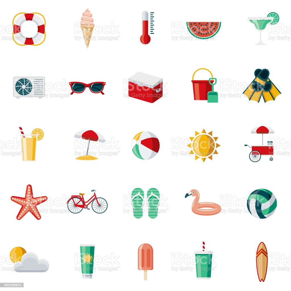 Summer Flat Design Icon Set vector art illustration
