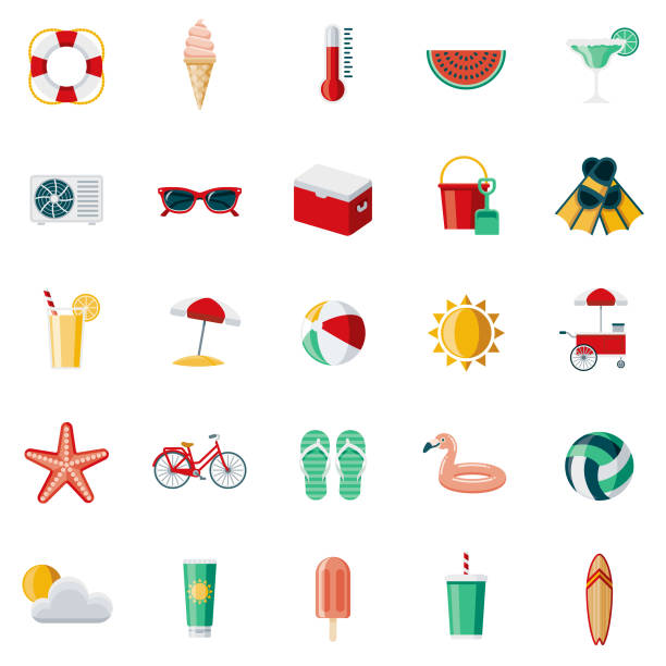 Summer Flat Design Icon Set A set of 25 summer flat design icons on a transparent background. File is built in the CMYK color space for optimal printing. Color swatches are Global for quick and easy color changes. summer stock illustrations