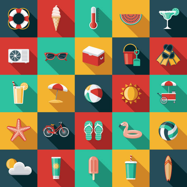 summer flat design icon set with side shadow - sun cream stock illustrations