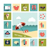 Summer flat icon concept. Collage concept. Vector background.