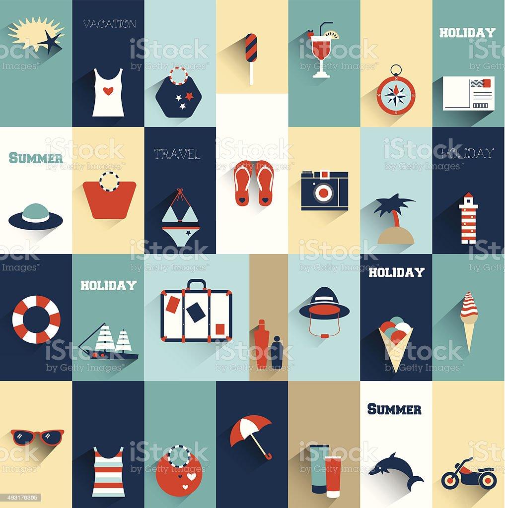 Summer flat icon concept. vector art illustration