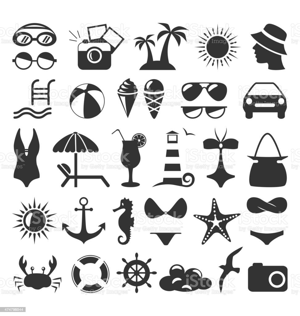 Summer flat icons set isolated on white vector art illustration