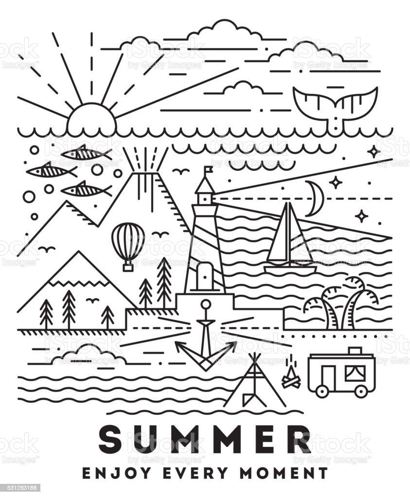 Summer flat line art illustration vector art illustration