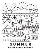 Summer flat line art illustration