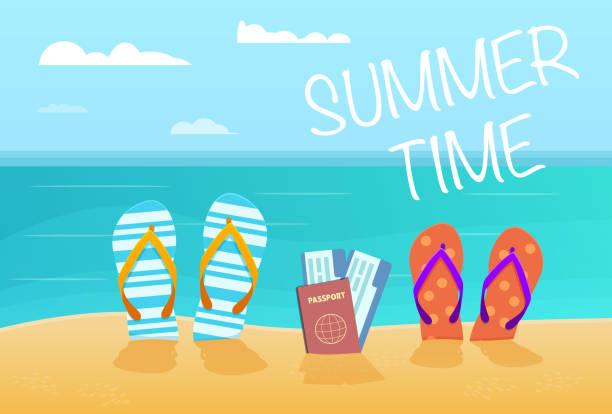 cc5aa2daf6e0 Summer flip flops on sandy beach .Family vacation .Vector Illustration  vector art illustration