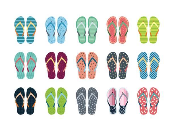 stockillustraties, clipart, cartoons en iconen met zomer flip flops set - slipper