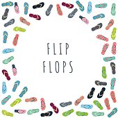 Flip flops with different designs drawn in flat style. The circular composition of the banner with place for text isolated on white background.