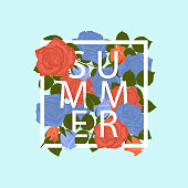 istock Summer floral background, isolated frame with blue and orange roses leaves on blue background. Vector illustration. 1321332295