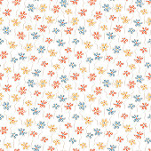 Summer floral background. Multicolor Tiny flowers - Vector seamless pattern