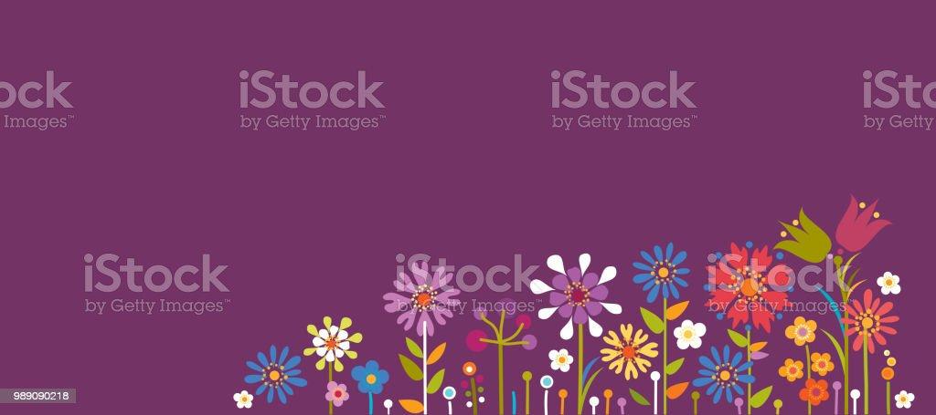 Summer Floral Background vector art illustration