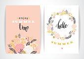 Summer floral card template. Vector illustration