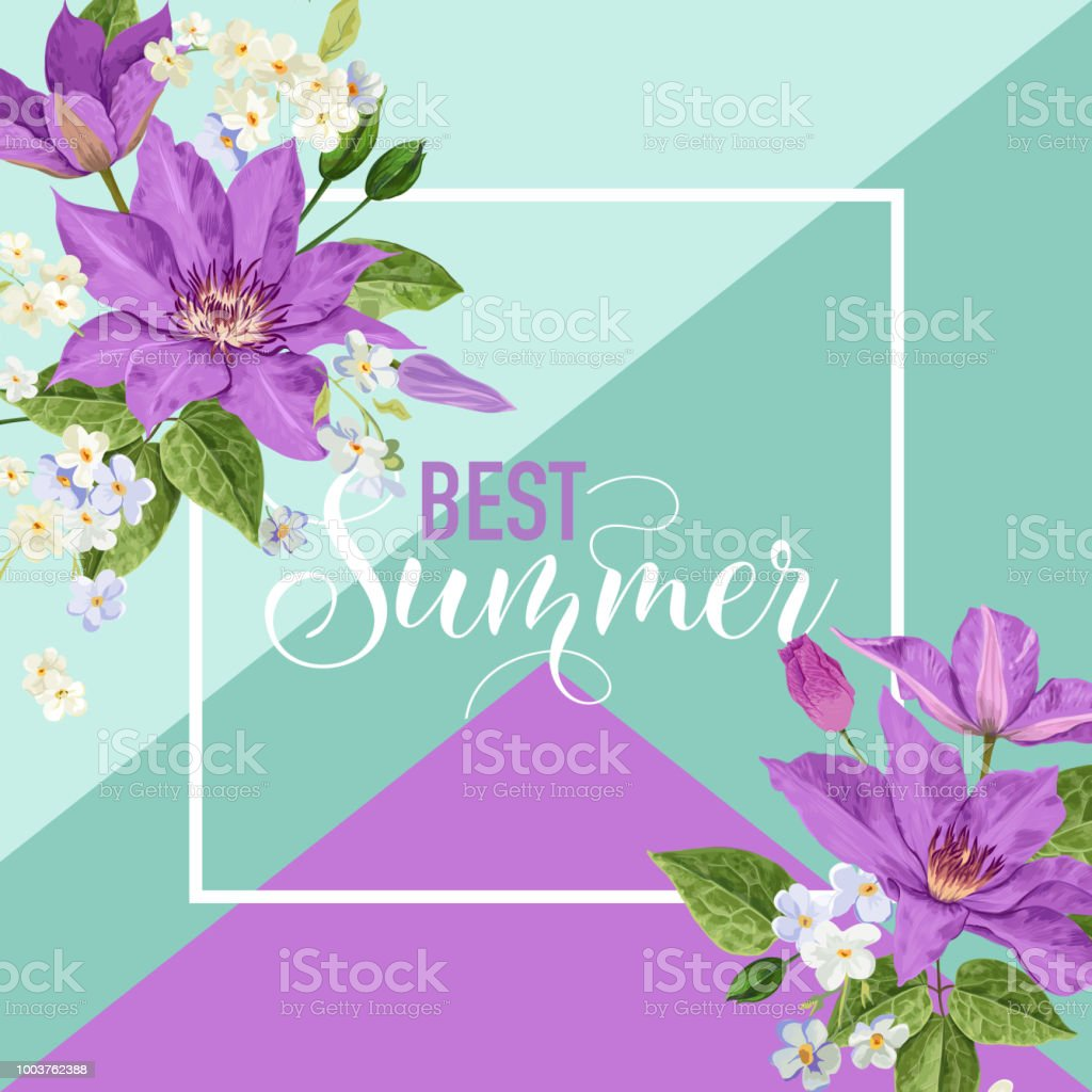 summer floral poster tropical clematis flowers design for banner