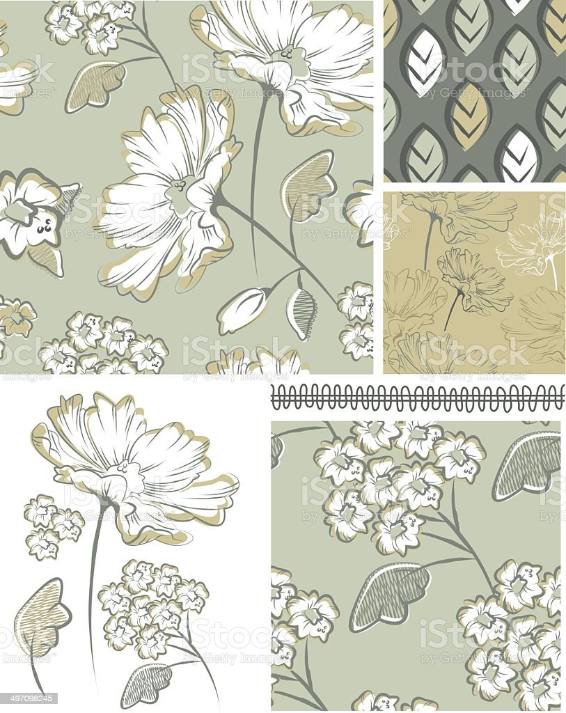 Summer Floral Seamless Patterns and Icons. vector art illustration